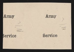 SUuuDAN : 1906 'Army Service' overprint only imperf proof, pair.