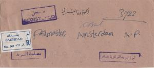 Iraq Official Free Mail 1965 Baghdad Registered to Amsterdam, A.P. LEGAL SIZE