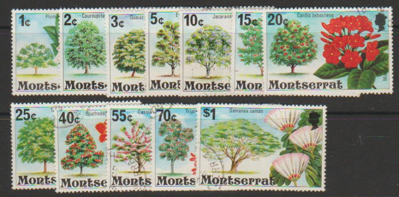 Montserrat SG 371 - 382 -12 stamps to $1 Fine Used  - Trees