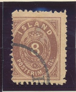 Iceland Stamp Scott #3, Used, Toning, Faults - Free U.S. Shipping, Free World...