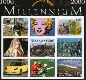 Tajikistan 1999 Concorde/Manchester United/Porsche/Millennium Shlt 8 IMPERF MNH