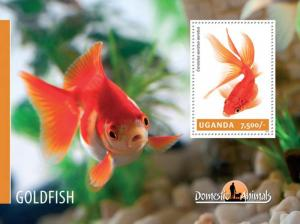Uganda 2014 Domestic Fish - Goldfish  Stamp Souvenir Sheet 21D-140