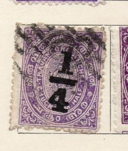 Travancore 1906 Early Issue Fine Used 1/4ch. Surcharged 191265
