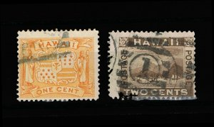 GENUINE HAWAII SCOTT #74 AND #75 USED 1894 SET OF 2 STAMPS #15837