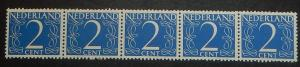 Netherlands 283. 1946 2c Ultramarine Numeral, coil strip of five, NH