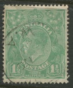 Australia - Scott 25 - KGV Head -1923 - FU - Wmk 9 -  1.1/2p Stamp