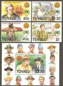 TUVALU Sc# 460 - 464 MNH FVF Set-4+ Souv Sheet Boy Scouts