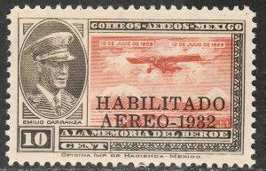 MEXICO C41, CAPT. E. CARRANZA HABILITADO 1932.UNUSED, H OG. F. (657)