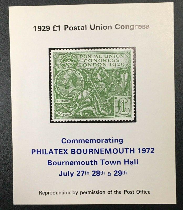 Philatex Bournemouth Postal Union Congress - 1972
