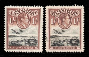 Antigua 1938 KGVI 1/- black & red-brown SG 105a mint