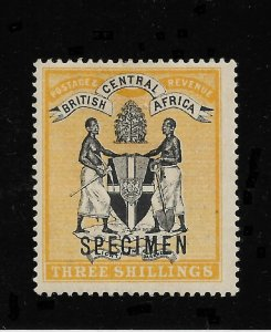 British Central Africa 1896, 3/ Shillings, Scott # 38, VF Mint Hinged* (R-4)