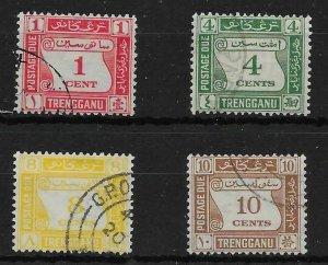 MALAYA TRENGGANU SGD1/4 1937 POSTAGE DUE SET USED