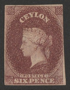 CEYLON : 1857 QV 6d brown, imperf white paper, wmk Star. with CERTIFICATE.