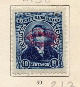 El Salvador 1896 Official Early Issue Fine Mint Hinged 10c. Optd 173157