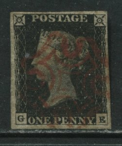 1840 Penny Black GE Plate 1b with crisp light red MX and 4 good to large margins