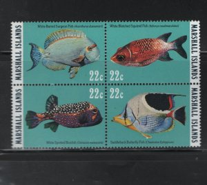 MARSHALL ISLANDS, 77A Block of 4, MNH, 1985 Reef and Lagoon Fish