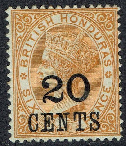 BRITISH HONDURAS 1888 QV LARGE NUMERAL 20C ON 6D