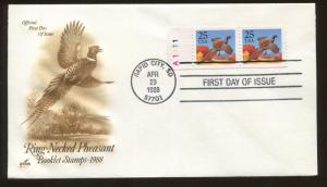 1988 Rapid City South Dakota Ring-Necked Pheasant Booklet Stamp First Day Cover