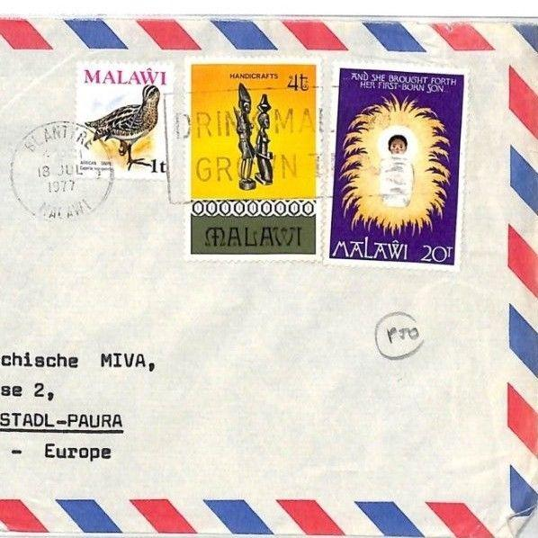 CF298 1977 Malawi *BLANTYRE* MISSIONARY Air Cover MIVA Vehicles Austria BIRDS