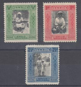 Jamaica Sc B1-B3 MLH. 1923 Child Saving League Semi-Postals complete, F-VF