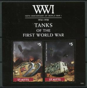 St Kitts Stamps 2014 MNH WWI WW1 100th Anniv First World War I Tanks 2v S/S