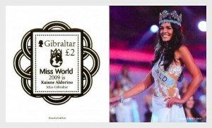 2010  GIBRALTAR  -  SG. MS1363  -  MISS WORLD - UNMOUNTED MINT MINI SHEET