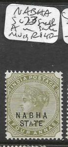 INDIA  NABHA  (P0410B) QV 4A  SG 23 SMALL A IN STATE  MOG