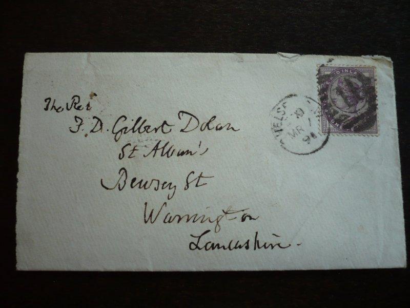 Great Britain - Victorian Cover - Scott#89 - Chelsea to Warrington - 1891