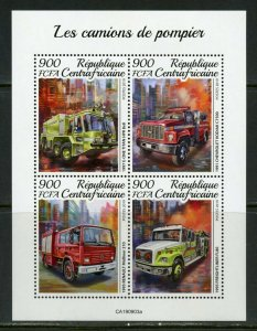 CENTRAL AFRICA 2019  FIRE ENGINES SHEET  MINT NH