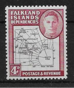 FALKLAND IS.DEP. SGG5c 1946 4d BLACK & CLARET SOUTH POKE VAR MTD MINT