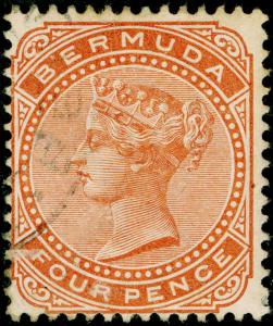 BERMUDA SG28a, 4d orange-brown, FINE USED, CDS. Cat £60. WMK CA PERF 14.