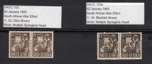 J28458, 1941-3 south africa #89, 2 dif shades colors