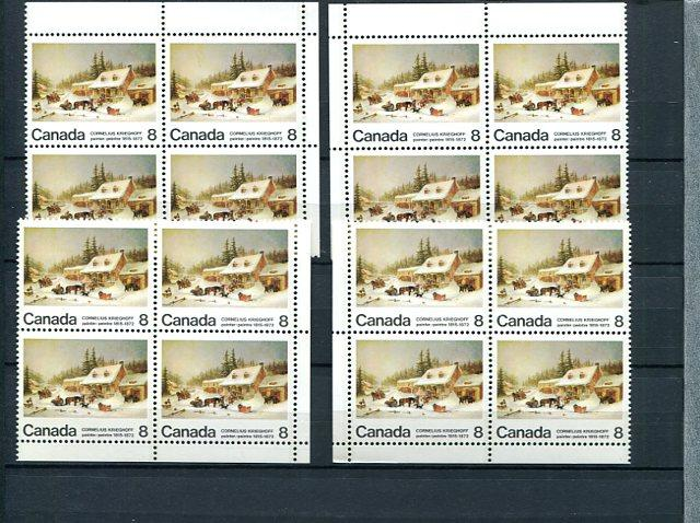 Canada #610 blank, 610p, pi and piv   Blocks VF NH   - Lakeshore Philatelics