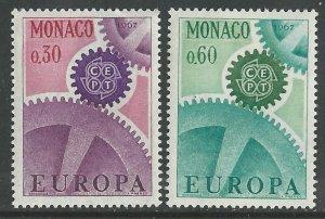 Monaco # 669-70  Europa  1967  Common Design      (2)  Mint NH