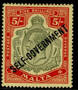 MALTA GV SG113, 5s green & red/yellow, M MINT. Cat £60.