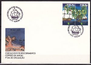 Macao, Scott cat. 483-484. Tall Ships issue. First day cover. ^
