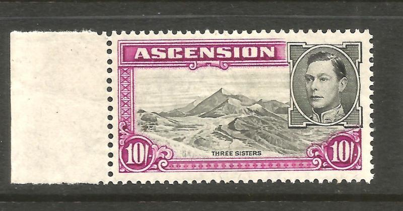 ASCENSION 1938  10/-   KGVI  PICTORIAL  MLH  P13 1/2   SG 47
