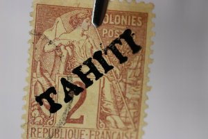 French Tahiti overprint sc#6 2c used cv$2500 Original or Forgery? light cancel
