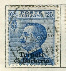 ITALY TRIPOLI; 1910 early Emmanuel issue fine used 25c. value