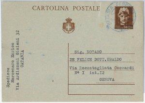 ITALIA REGNO:  storia postale - INTERO POSTALE con annullo CATANIA in BLU! 1945