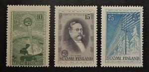 Finland 332-34. 1955 Telegraph Centenary, NH