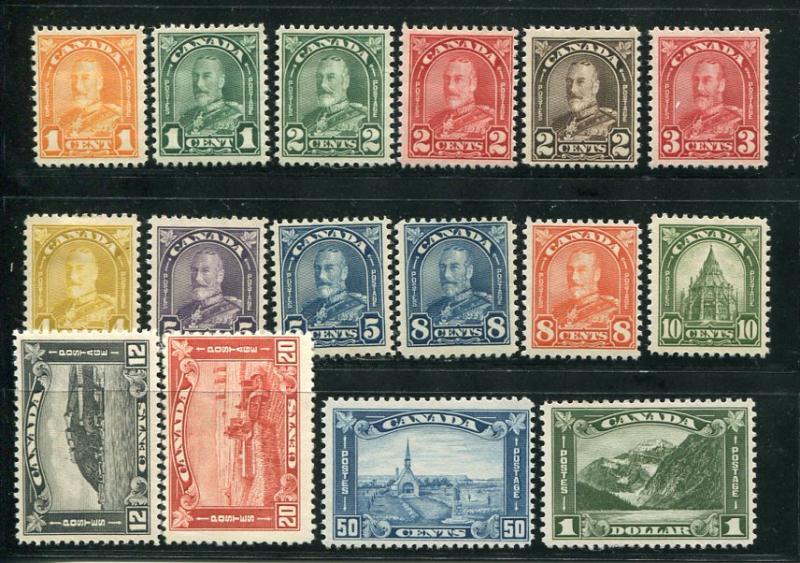 Canada #161-77 Mint  F-VF -  Lakeshore Philatelics