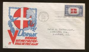 1943 Liberate Denmark Overrun But Not Forever It Shall Be Free FDC Stamp #920