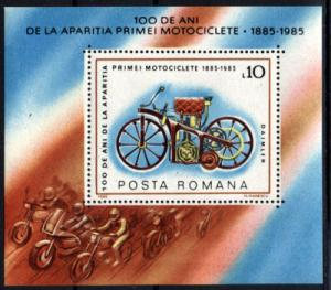 Romania 1985 First Daimler Motorcycles Motorbike Transport Stamp Michel BL217