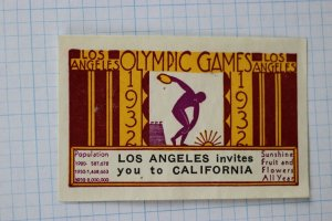 Olympic poster stamp 1932 Los Angeles CA tourism invitation ad seal invites you