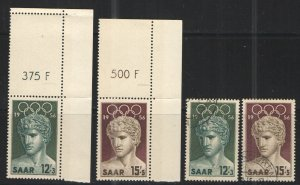 Germany - Saar 1956 Sc# B109-B110 MH & used VG/F Melbourne Olympics 1956