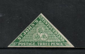 Newfoundland #3 Very fine Mint Unused (No Gum) With Handstamp *With Certificate*