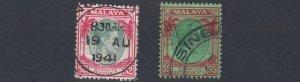 MALAYA  STRAITS SETTLEMENTS  1938 - 41  S G 291 - 92  $2 & $5  VALUES  USED