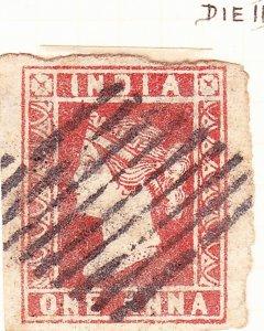 INDIA 1854 1A Deep Red Die II SG13 Used
