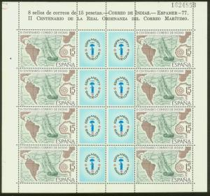 SPAIN 2065(8), ESPAMER PHILATELIC EXHIBITION, SHEET OF EIGHT, MNH VF.